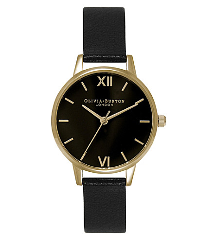 OLIVIA BURTON OB15MD51 midi dial stainless steel and leather watch (Black