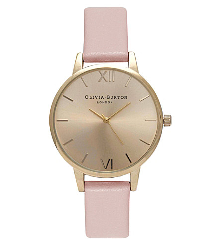 OLIVIA BURTON OB15MD52 midi dial stainless steel and leather watch (Gold