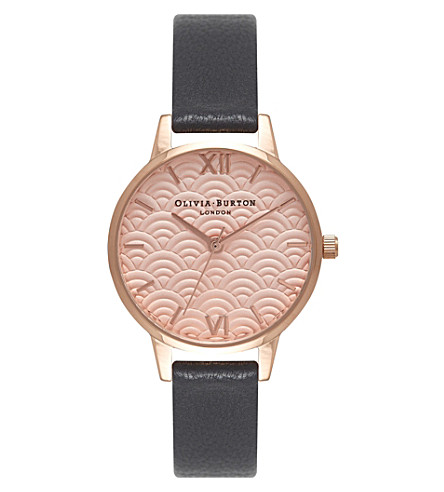 OLIVIA BURTON OB15MD59 Scalloped Midi Dial rose gold and leather watch (Black