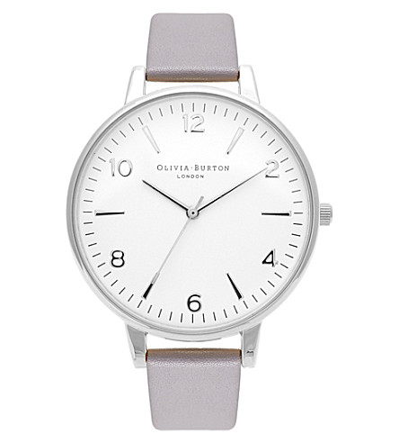 OLIVIA BURTON OB15MV38 modern vintage stainless steel and leather watch (White