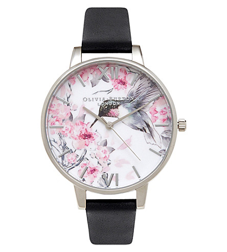 OLIVIA BURTON OB15PP10 painterly prints hummingbird stainless steel and leather watch (Multi-coloured