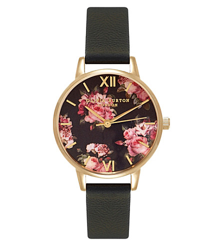 OLIVIA BURTON OB15RB06 winter garden stainless steel and leather watch (Multi-coloured