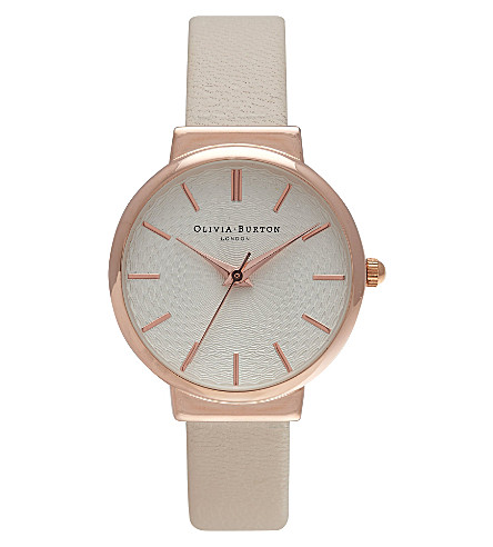 OLIVIA BURTON OB15TH02 The Hackney rose gold-plated and leather watch (White