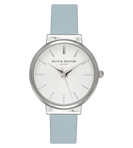 OLIVIA BURTON OB15TH07 The Hackney silver and leather watch (Blue