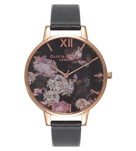 OLIVIA BURTON OB15WG12 Winter Garden rose gold and leather watch (Black