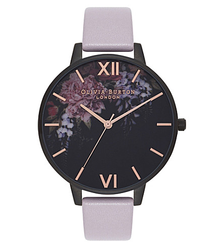 OLIVIA BURTON Quartz black dial leather strap
