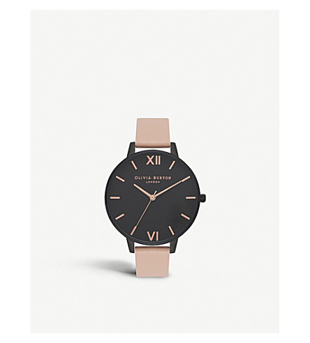 OLIVIA BURTON After Dark stainless steel and leather watch