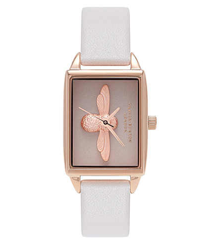OLIVIA BURTON Quartz pink dial leather strap
