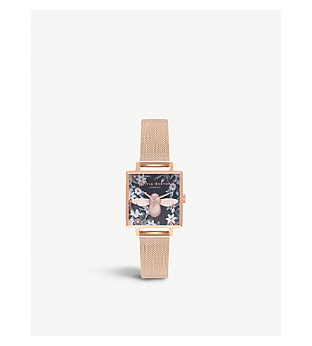 OLIVIA BURTON OB16AM134 3D Bee Midnight rose gold-plated square dial watch