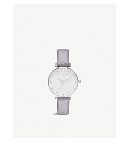 OLIVIA BURTON Queen Bee silver-plated and leather watch