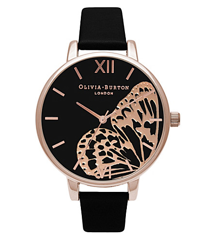 OLIVIA BURTON OB16AM97 rose-gold butterfly motif watch