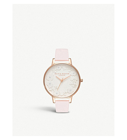OLIVIA BURTON 3D floral-motif silver-plated and leather watch