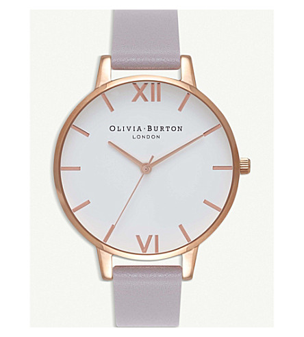 OLIVIA BURTON OB16BDW16 rose-gold and leather watch