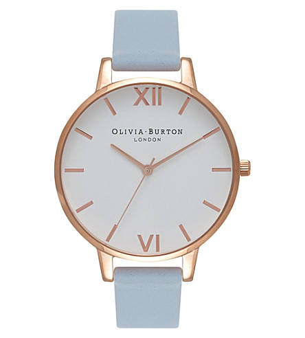 OLIVIA BURTON OB16BDW18 big dial rose gold-plated stainless steel and leather watch
