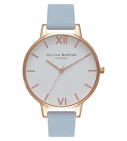 OLIVIA BURTON OB16BDW18 大表盘玫瑰镀金不锈钢和皮革手表