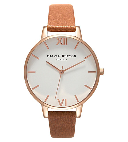 OLIVIA BURTON OB16BDW19 rose gold-plated stainless steel and leather watch