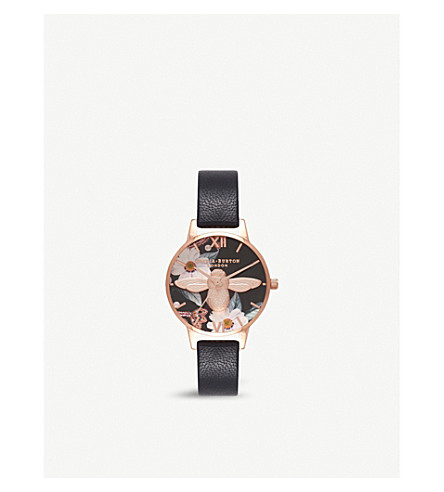 OLIVIA BURTON Botanical 3D bee rose-gold and leather watch