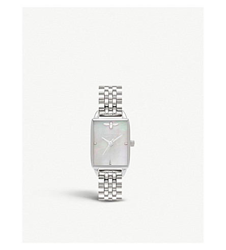 OLIVIA BURTON OB16BH03 Bee Hive silver and mother-of-pearl watch