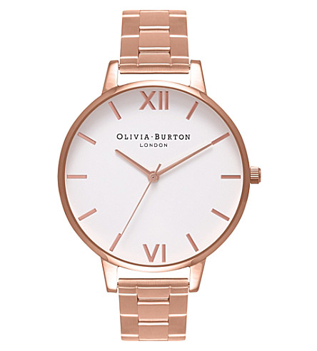 OLIVIA BURTON OB16BL33 big dial rose gold-plated stainless steel and watch