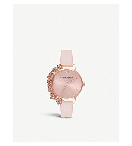 ROSE-GOLD AND LEATHER WATCH