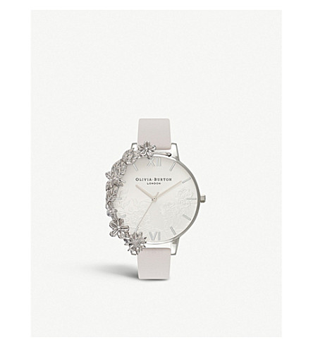 OLIVIA BURTON Lace-detail silver-plated stainless steel and leather watch
