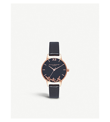 OLIVIA BURTON OB16CH06 Busy Bees rose gold-plated and leather watch