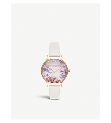 OLIVIA BURTON OB16CH13 Busy Bees rose gold-plated and leather watch