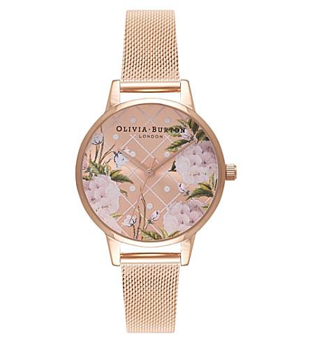 OLIVIA BURTON OB16DD06 floral print gold watch