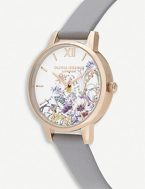 OLIVIA BURTON OB16EG150 Enchanted Garden yellow gold-plated and leather strap watch
