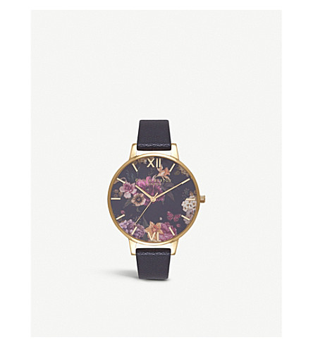 OLIVIA BURTON OB16EG78 Floral-print gold-plated and leather watch