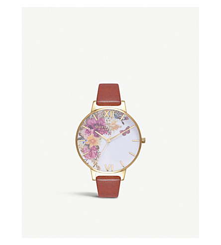 OLIVIA BURTON OB16EG94 Floral gold-plated leather strap watch