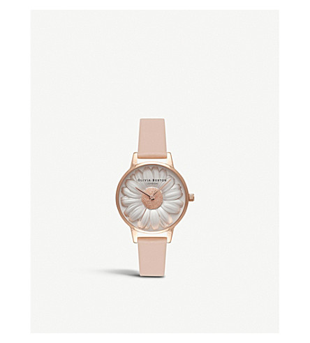OLIVIA BURTON OB16FS87 3D Daisy rose gold-plated leather strap watch