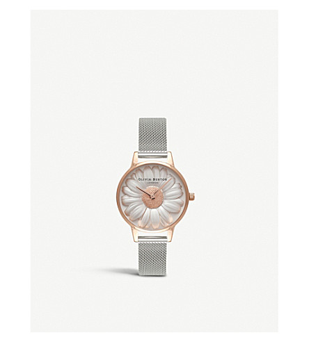 OLIVIA BURTON 3D Daisy rose-gold and silver watch