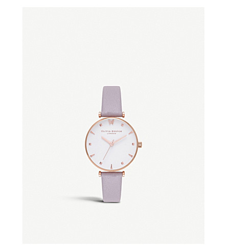 OLIVIA BURTON OB16MB13 Butterfly rose gold-plated leather strap watch