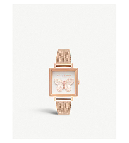 OLIVIA BURTON Square Dial 3D butterfly rose gold-plated watch