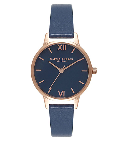 OLIVIA BURTON OB16MD66 midi dial rose gold-plated stainless steel and leather watch