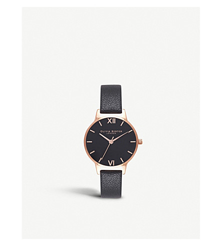 OLIVIA BURTON OB16MD83 Midi dial rose gold-plated and leather watch