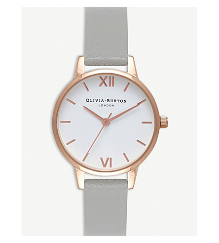 OLIVIA BURTON OB16MDW05 midi dial rose gold-plated stainless steel and leather watch