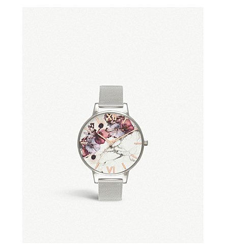 OLIVIA BURTON Marble Floral silver watch