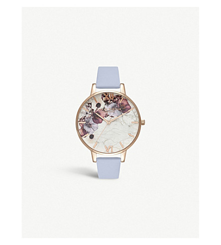 OLIVIA BURTON OB16MF10 Marble Floral rose gold-plated and leather strap watch