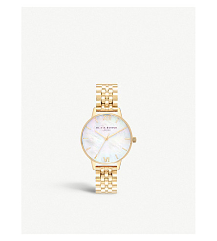 OLIVIA BURTON OB16MOP01 Semi Precious gold-plated and mother-of-pearl watch