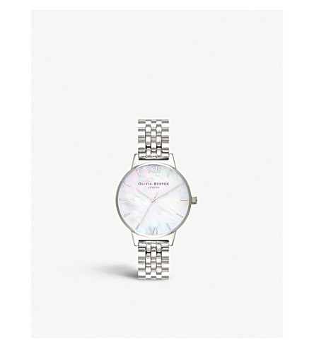 OLIVIA BURTON Semi Precious silver and mother-of-pearl watch