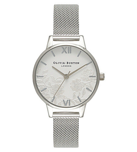 OLIVIA BURTON OB16MV54 Floral lace dial stainless steel watch