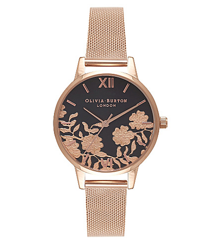 OLIVIA BURTON OB16MV57 Lace Detail rose gold-plated watch