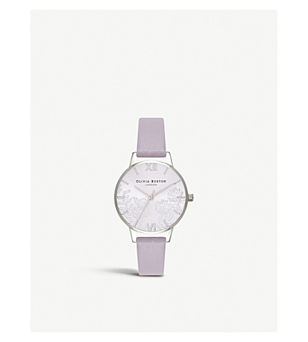 OLIVIA BURTON OB16MV76 Lace Detail stainless steel leather strap watch