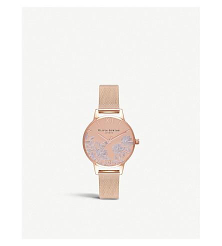 OLIVIA BURTON Rose-gold and mesh watch