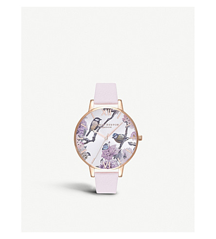 OLIVIA BURTON OB16PL35 Pretty Blossom rose-gold and leather watch