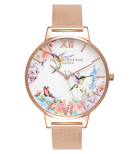 OLIVIA BURTON OB16PP21 Painterly Prints rose gold-plated watch