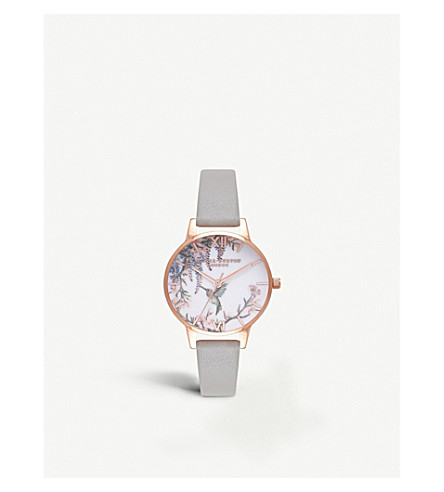 OLIVIA BURTON Painterly floral-print rose gold-plated watch