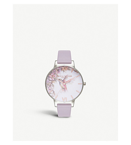 OLIVIA BURTON OB16PP23 Painterly Prints silver-plated and leather watch